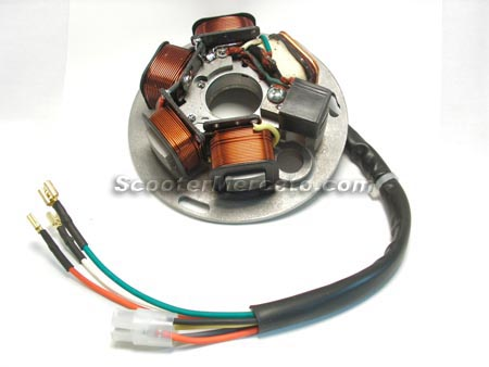 european style stator for vespa p200  this is the 90 watt h o  stator   great for electronic ignition conversions on p125/p150